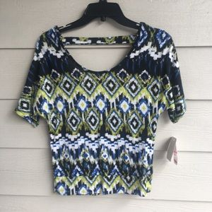 NWT Junior Abbreviated Crop Top Tribal Print Sexy